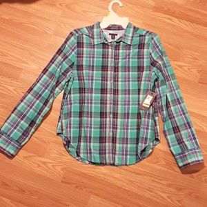 Tommy Hilfiger Purple and green flannel shirt